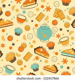 Tea seamless background in doodle retro style