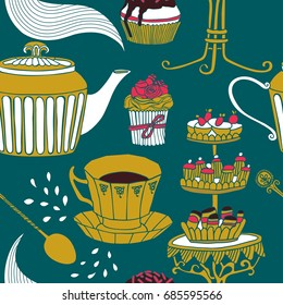 tea seamless background, vector illustration.