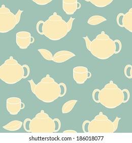 Tea Seamless Pattern Background Vector Illustration