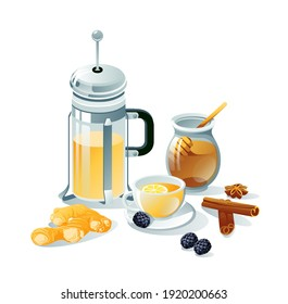 Tea set black, herbal. Teapots, cups, tea bag, lemon, berries, ginger, honey, cinnamon. Objects are isolated on a white background.