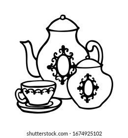 TEA SET ON A WHITE BACKGROUND IN VECTOR