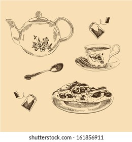 Tea Set sketches collection for your design