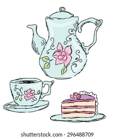 Tea sets and cake.  Vector illustration for a card or menu cover .