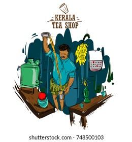 tea shop Kerala vector illustration