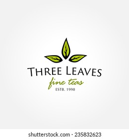Tea shop logo symbol icon template with three green leaves