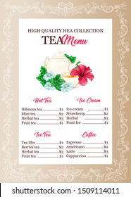 Tea shop, restaurant menu vector template. Cafe drinks and dessert price list. Catering business brochure page with ornate border. Teapot, cup and flowers hand drawn illustration with typography