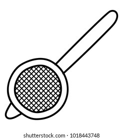 Tea strainer, sieve with handle, doodle icon