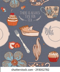 Tea, sweets, cakes and other chocolate food. Invitation card.