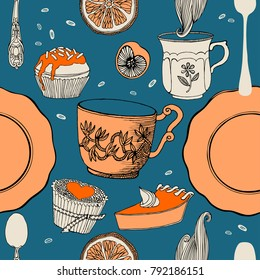 Tea and sweets, pattern design.