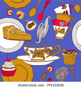 Tea and sweets pattern design. Vector illustration.