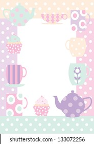 Tea Time Border Border with teacups, cupcakes,and teapots all in polka dot pastels for a useful background, poster or invitation.