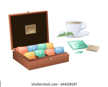 Tea time. Tea box with tea bags and tea cup.