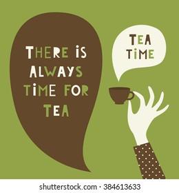 tea time card design. vector illustration