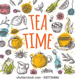 Tea time card with elements of kitchen on the watercolor splashes. Hand drawn vector illustration. Can be used for menu, cafe, restaurant, bar, poster, banner, emblem, sticker, placard and other.