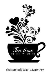 Tea time. Cup with floral design elements  isolated on White background. Vector illustration