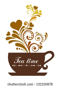 Tea time. Cup with floral design elements. Vector illustration.
