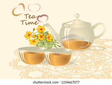 Tea Time with cup of tea, teapot and hearts