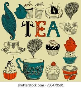 Tea time decorative vector card