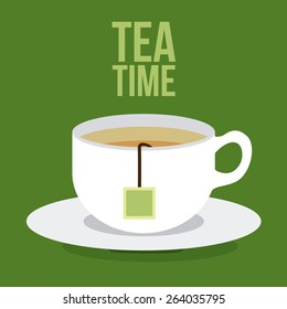 Tea time design over green background, vector illustration