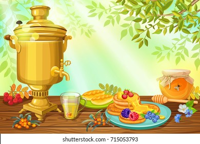 Tea time with honey and pancakes. Poster with russian samovar with space for text.
