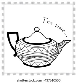 Tea time illustration with decorated tea pot and typography