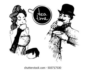 Tea time ink drawing vector illustration