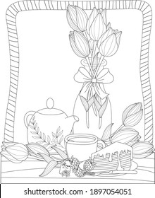 Tea time set coloring for adults with lily flowers cake tea pot black and white illustration outline vector