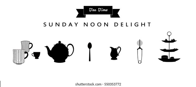 Tea Time Set_Kitchen Utensils_Mug, Tea Cup, Teapot, Kettle, Milk Pot, Spoon, Infuser, Strainer, 3 Tier Plate Stand, Cake Stand, Cup Cake, Biscuit, Cookie. Vector Illustration.