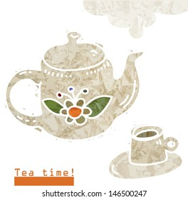 Tea time. Vector card with teapot and cup of tea.