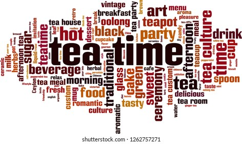 Tea time word cloud concept. Vector illustration