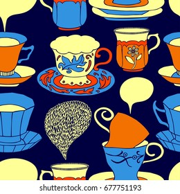 Tea vector illustration with cups, sweets, bakery. Freehand drawing, sketch.