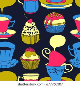 Tea vector illustration with cups, sweets, bakery. Freehand drawing, sketch