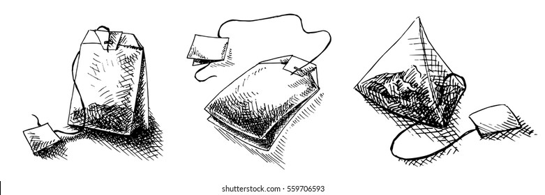 teabag in graphic style, hand-drawn vector illustration.