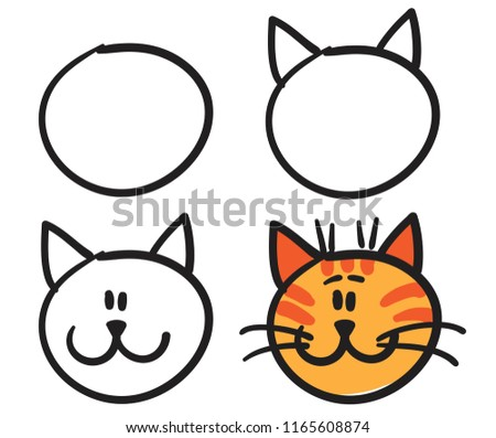 Teach Your Child How Draw Face Stock Vector Royalty Free