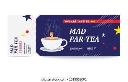 Tea/Chai Party Template. Vector illustration of a man taking bath and relaxing in tea cup. Tea Party Vector Tickets Template. You are Invited Ticket for entrance to the event.