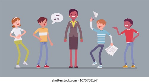Teacher annoyed with naughty kids. Misbehaving teens irritate adult woman, provoke impatience, rise bad emotions, no respect or courtesy in school relationships. Vector flat style cartoon illustration