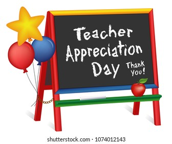 Teacher Appreciation Day, Tuesday of first full week of May, star, balloons, apple, thank you, wood chalkboard easel for children, for preschool, daycare, kindergarten, nursery, elementary school
