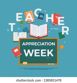 Teacher appreciation week illustration background. Ideal for national teacher appreciation week event banners, posters and social media posts