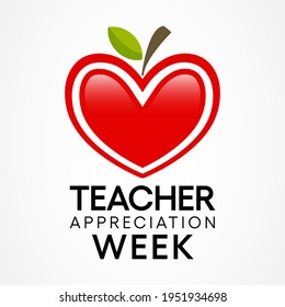 Teacher appreciation week is observed each year in May. day provides the occasion to celebrate the teaching profession worldwide, take stock of achievements. Vector illustration.