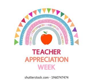 Teacher Appreciation Week school  vector banner. Cute rainbow, apple and text on white.