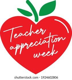 Teacher appreciation week script in a red apple heart