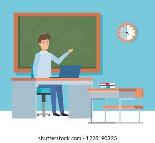 Teacher with blackboard design