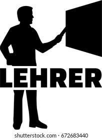 Teacher at blackboard with german job title