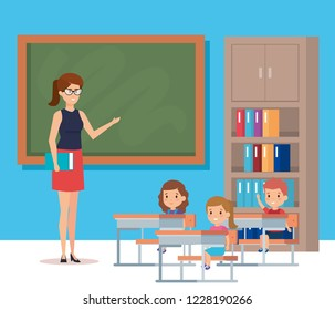 Teacher with blackboard and kids design