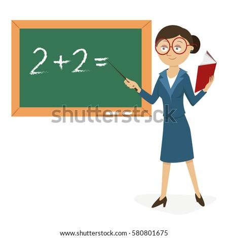 teacher blackboard textbook stock vector royalty free 580801675