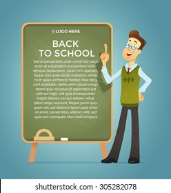 Teacher at the blackboard . Vector eps 10. Text placeholder. Banner and poster