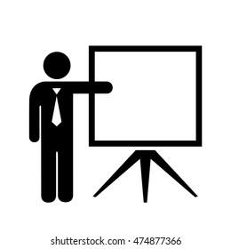 Teacher and blank screen vector illustration isolated on white background. Teacher icon. Teacher icon eps10. Teacher icon vector illustration.