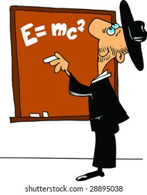 The teacher at a board explains the equation