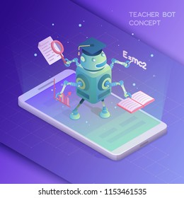 Teacher bot concept. Artificial intelligence. Isometric vector illustration,