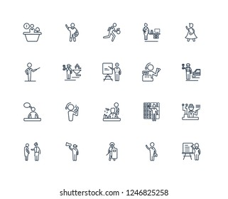 Teacher, Businessman, Swat, Marketing Manager, Obstetrician and Gynecologist, Superhero, Cashier, Hairdresser, Graphic de, Plumber, Thief outline vector icons from 20 set